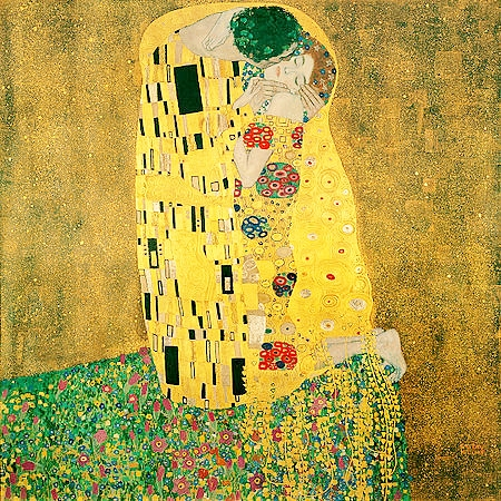 Gustav Klimt, The Kiss | Oil and gold leaf on canvas, 1907–1908 Österreichische Galerie Belvedere, Vienna
