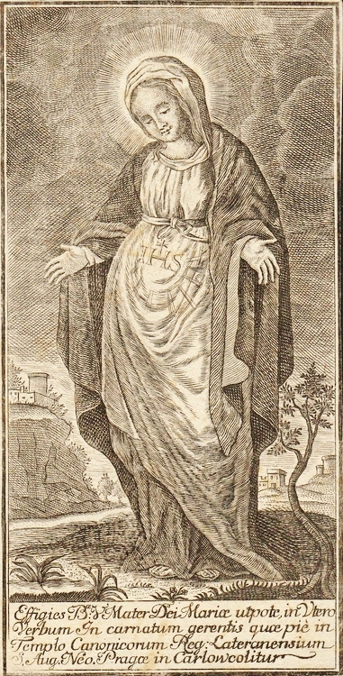 Our Lady of the Expectation |17th century engraving, Monastery of Canons Regular, Prague.