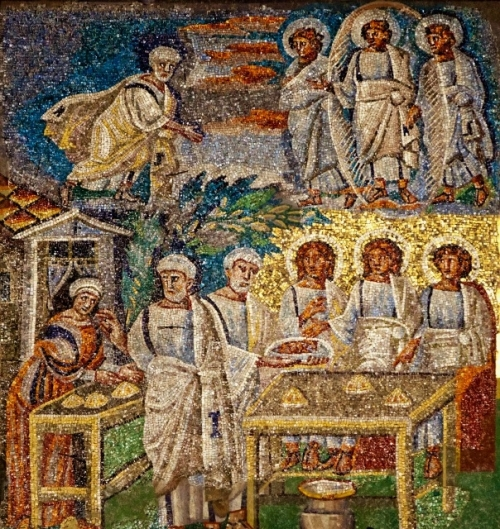 The Hospitality of Abraham and Sarah | Mosaic, 432-40 AD | Santa Maria Maggiore, Rome