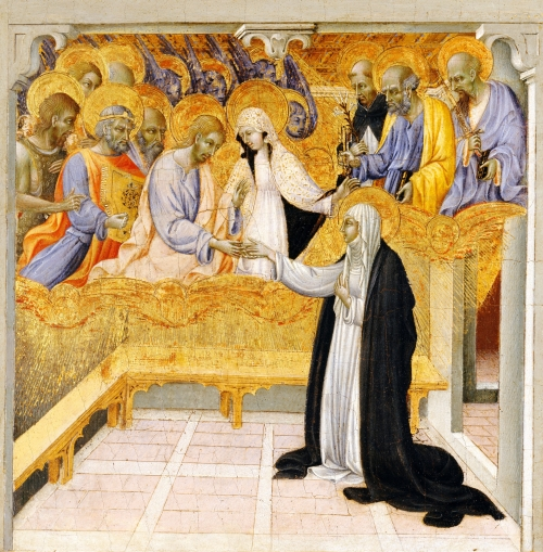 Giovanni di Paolo, The Mystic Marriage of Saint Catherine of Siena | Siena ca. 1460 or earlier, Tempera and gold on wood | Metropolitan Museum of Art, New York