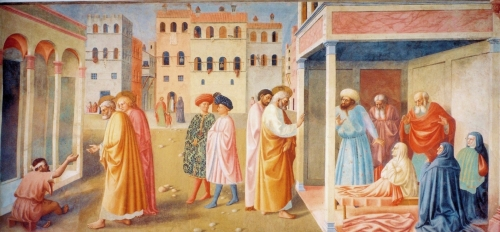 Masolino da Panicale, Healing of the Cripple and Raising of Tabatha, 1426-27 |  Fresco, Cappella Brancacci, Santa Maria del Carmine, Florence