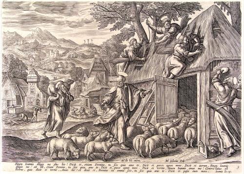 Julius Goltzius,  Simon Sum Ostium Ovium ... Pasce Oves Meas (John 21:15) | 1500-1600, Museum Boijmans Van Beuningen