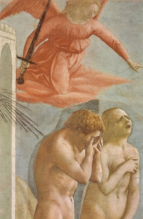 Massaccio, The Expulsion of Adam and Eve from the Garden of Eden 1426-27 | Fresco Detail, Cappella Brancacci, Santa Maria del Carmine, Firenze