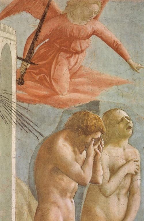 Massaccio, The Expulsion of Adam and Eve from the Garden of Eden 1426-27 | Fresco Detail, Cappella Brancacci, Santa Maria del Carmine, Firenze
