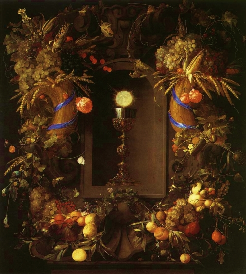 Jan Davidsz. de Heem, Eucharist in Fruit Wreath, 1648 | Kunsthistorisches Museum, Vienna