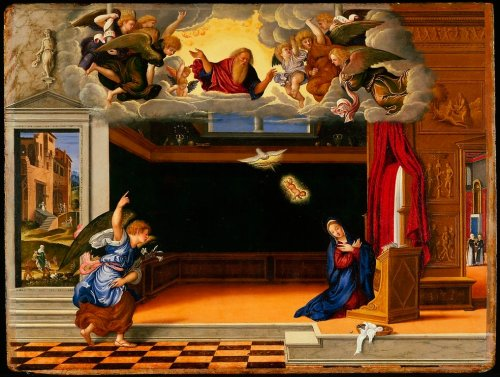 Girolamo da Santacroce, Annunciation| Venetian, oil, 1540 | Minneapolis Institute of the Arts