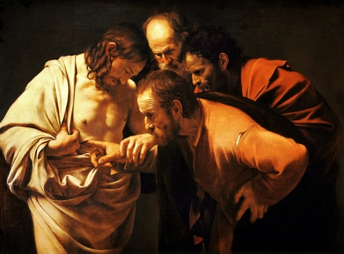 Caravaggio, The Incredulity of Saint Thomas |Oil on Canvas, 1601-1602| Sanssouci Picture Gallery, Potsdam, Germany
