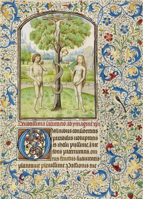 Willem Vrelant, Adam And Eve Eat the Forbidden Fruit | Tempera colors, gold leaf, and ink on parchment, Ca. 1460 | The Getty Museum, Los Angeles