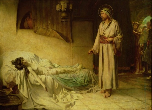 George Percy Jacomb-Hood, The Raising of Jairus's Daughter |1885, oil on canvas | Guildhall Art Gallery and Roman Amphitheather, London, United Kingdom