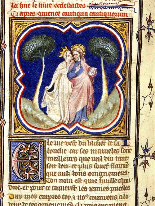 """The Bride (Ecclesia) and the Bridegroom (Christ)."" Illustrator of Petrus Comestor's 'Bible Historiale' 