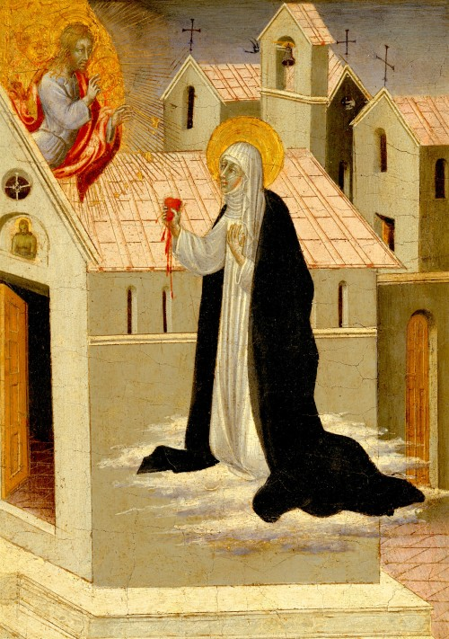 Giovanni di Paolo di Grazia, Saint Catherine of Siena Exchanging Her Heart with Christ | Siena, ca. 1475, Tempera and gold on wood | The Metropolitan Museum of Art, New York