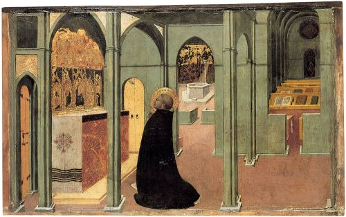 Sassetta, St. Thomas at Prayer, 1423. Museum of Art, Budapest.